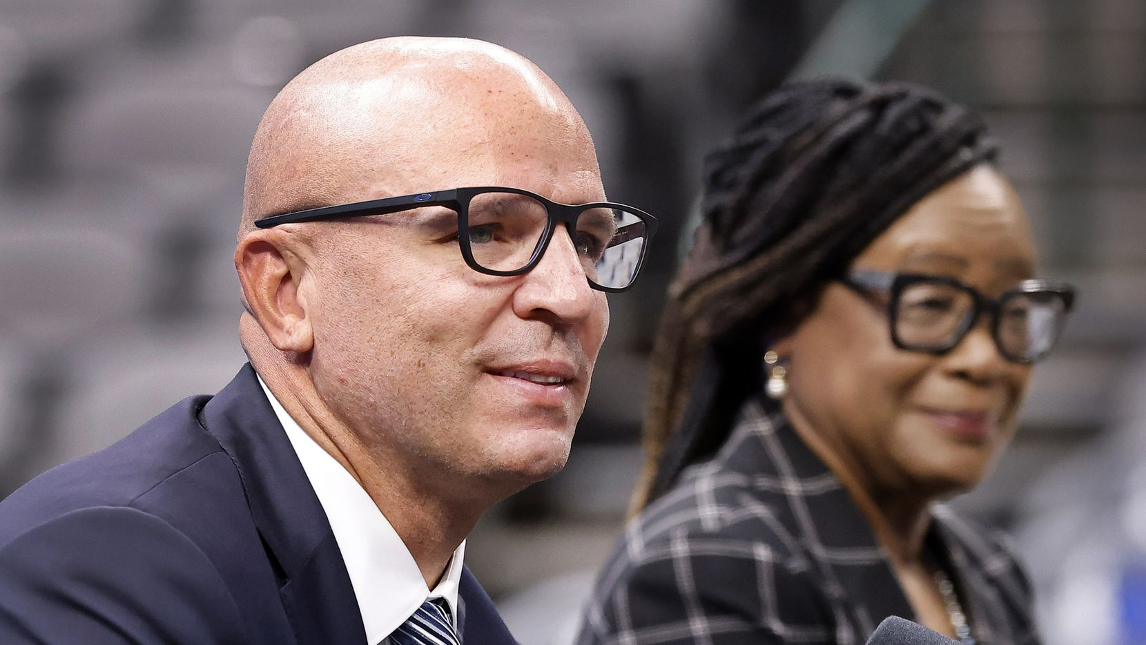 Dallas Mavericks new head coach Jason Kidd responds to questions from the media during his formal introduction alongside CEO Cynt Marshall at the American Airlines Center, Thursday, July 15, 2021.