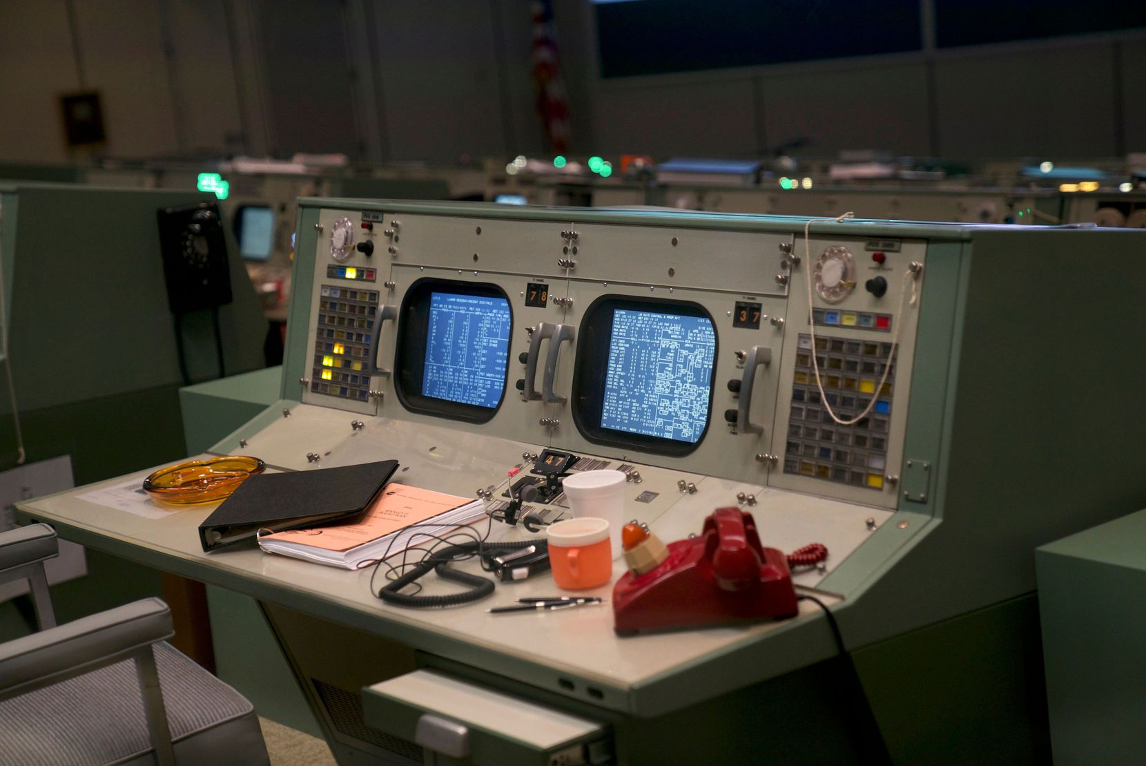 Fifty years after handling the Apollo 11 mission, the Apollo Mission Control Room at NASA's Johnson Space Center in Houston has been painstakingly restored to appear just as it did back then, including exact reproductions of artifacts matching originals that were collected.