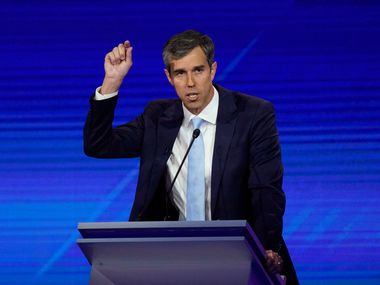 Former Texas Rep. Beto O'Rourke responds to a question Thursday, Sept. 12, 2019, during a Democratic presidential primary debate hosted by ABC at Texas Southern University in Houston.