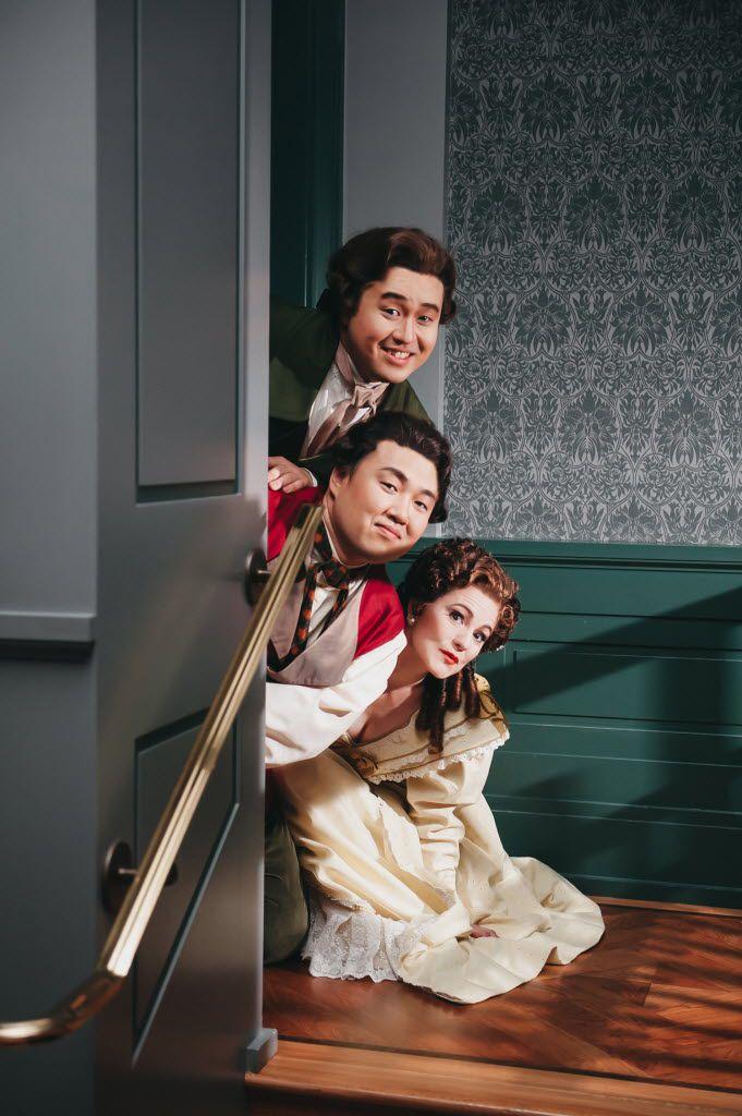 "Rosina (Megan Marino), Figaro (Joo Won Kang), and Count Almaviva (Andrew Stenson) make their escape, singing the trio  Zitti, zitti, piano, piano.  From the Fort Worth Opera's ""The Barber of Seville."""