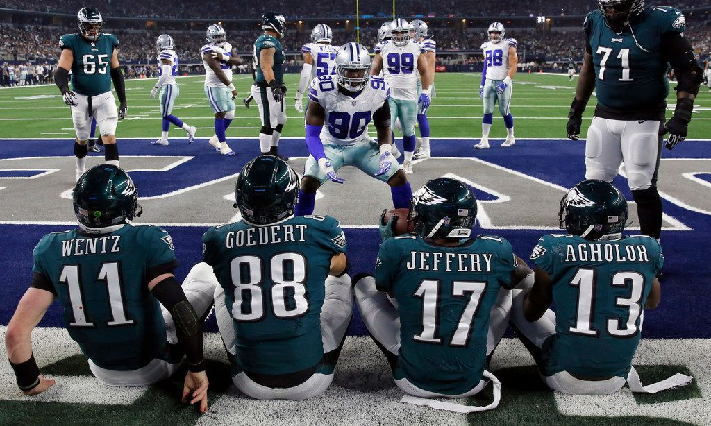 Dallas Cowboys defensive end Demarcus Lawrence (90) tries to have none of the Philadelphia Eagles offense celebrating a touchdown in the end zone at AT&T Stadium in Arlington, Texas, Sunday, December 9, 2018. The Cowboys won, 29-23. (Tom Fox/The Dallas Morning News)