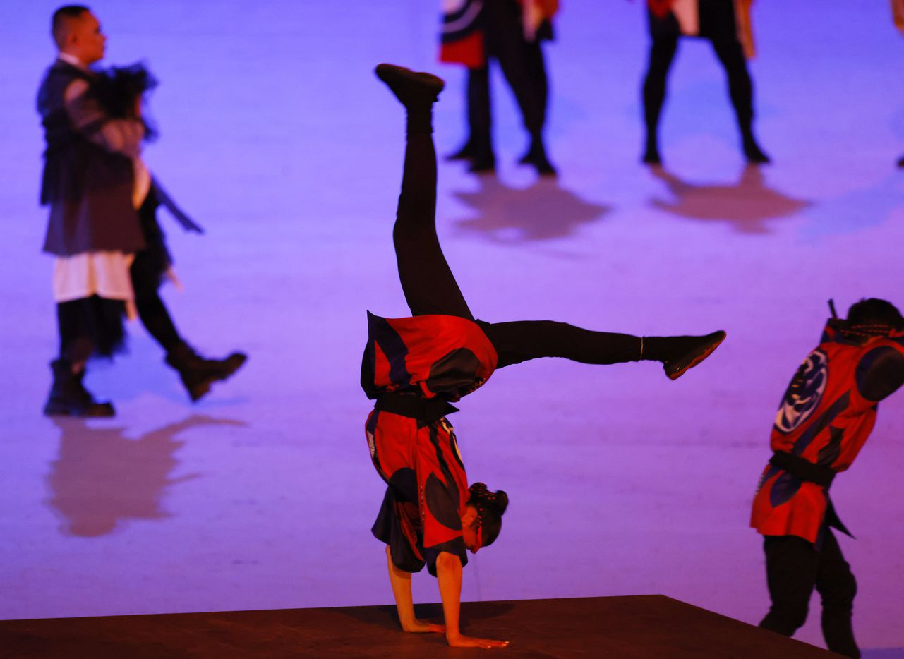 Dancers performs during the opening ceremony for the postponed 2020 Tokyo Olympics at Olympic Stadium on Friday, July 23, 2021, in Tokyo, Japan. (Vernon Bryant/The Dallas Morning News)