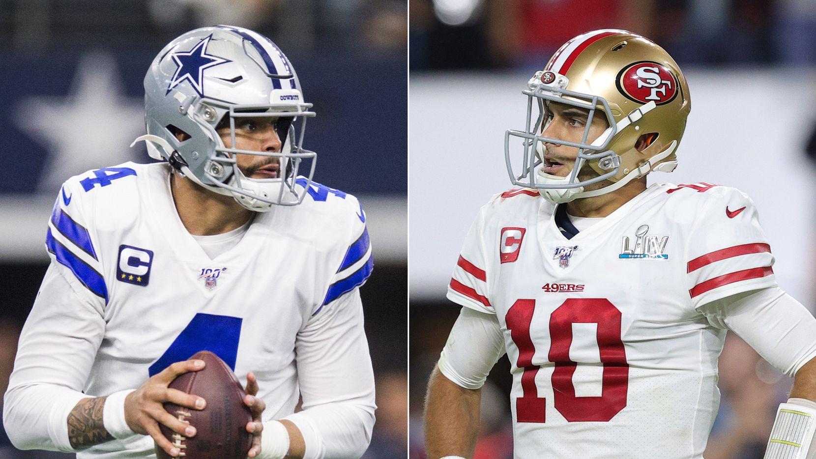 L to R: Dallas Cowboys quarterback Dak Prescott (Ashley Landis/The Dallas Morning News), San Francisco 49ers quarterback Jimmy Garoppolo (Tom Pennington/Getty Images)