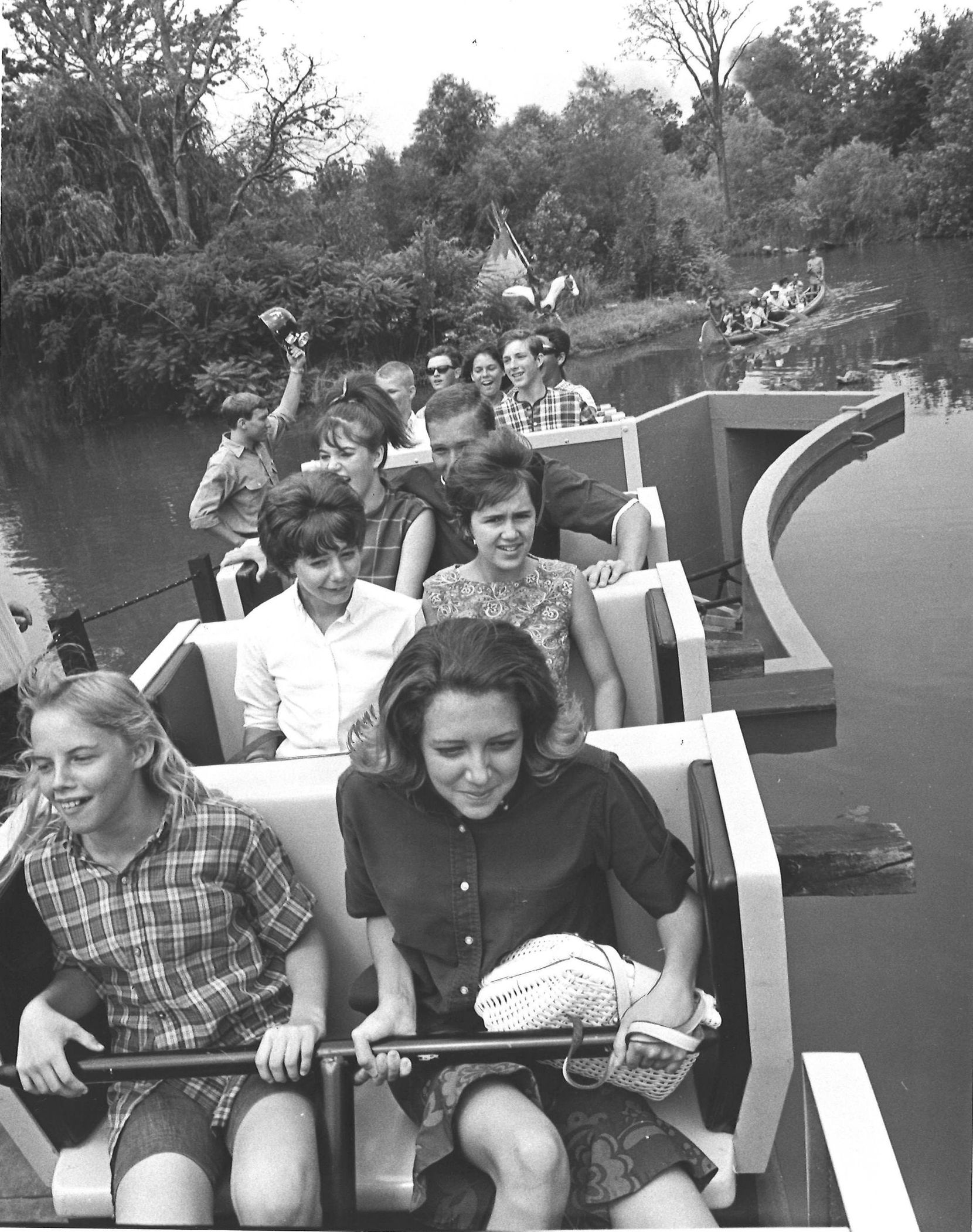 The ambitious Runaway Mine Train ride opened in April 1966 at Six Flags and cost the park a million dollars to construct. Shortly after opening, the ride stalled and passengers were forced to walk off the runaway ride.