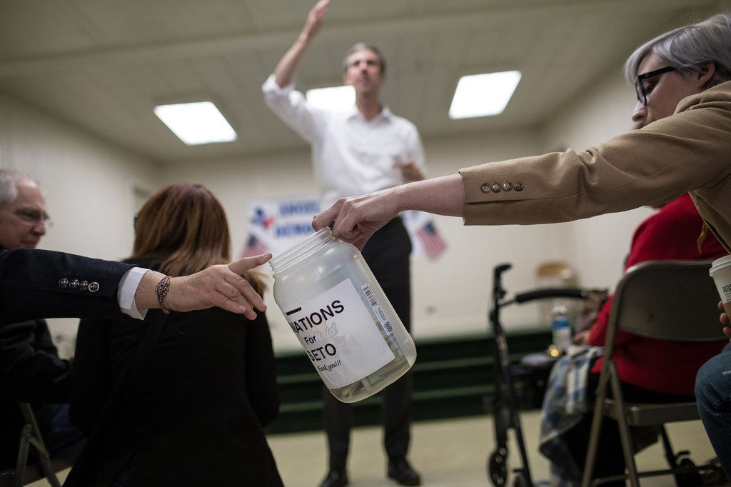 Rep. Beto O'Rourke, D-El Paso, speaks while a donations jar is passed around the Brandon Community Center in Lufkin. O'Rourke is running to unseat Sen. Ted Cruz in the 2018 midterm elections.