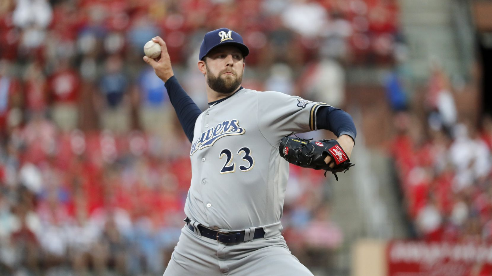Milwaukee Brewers starting pitcher Jordan Lyles throws during the first inning of a baseball game against the St. Louis Cardinals Saturday, Sept. 14, 2019, in St. Louis. (AP Photo/Jeff Roberson)