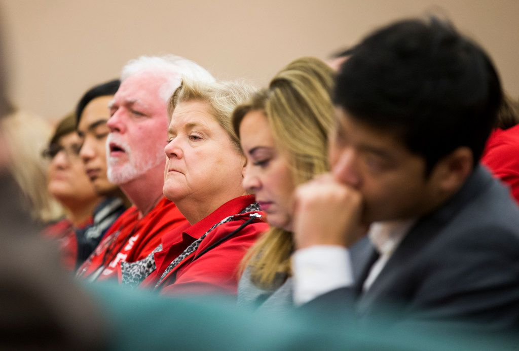 Educators listen as members of the senate committee discuss SB3, which would give teachers a $5,000 pay raise next year, at a senate committee hearing on Monday, February 25, 2019 at the Texas state capital extension in Austin. (Ashley Landis/The Dallas Morning News)