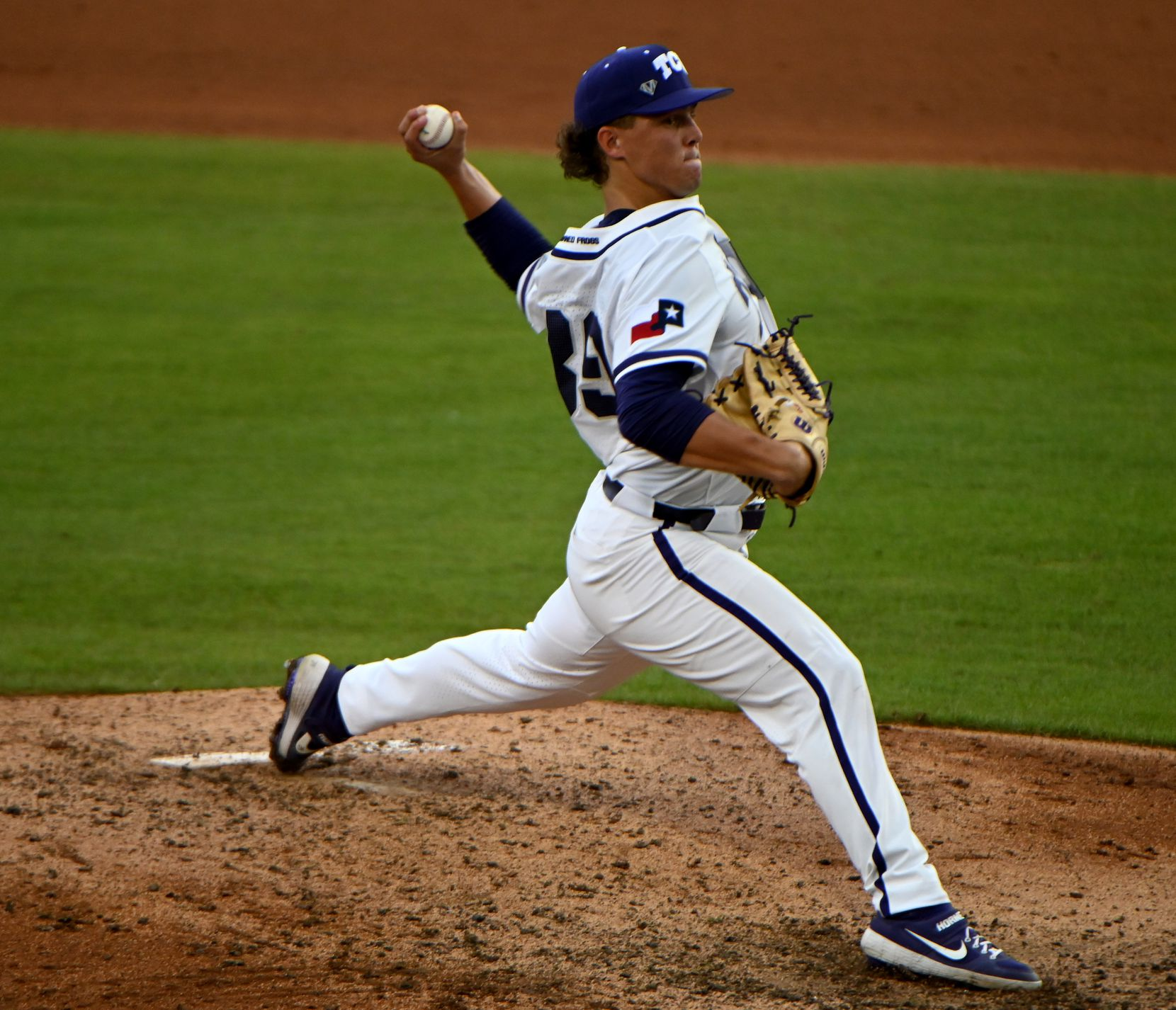 TCU pitcher Austin Krob (39) pitches in the fifth inning of game against McNeese State in the Forth Worth Regional NCAA baseball tournament, Friday, June 4, 2021, in Fort Worth, Texas. (Matt Strasen/Special Contributor)