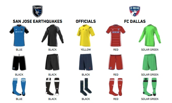 An example of an official MLS kit assignment sent to teams in the days before the game