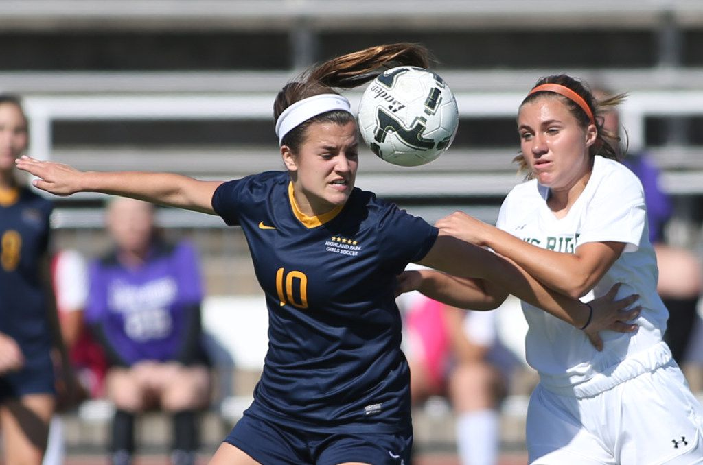 Highland Park's Presley Echols (left) was named the SportsDayHS All-Area Girls Soccer Player of the Year in 2020. (Rick Moon/Special contributor)