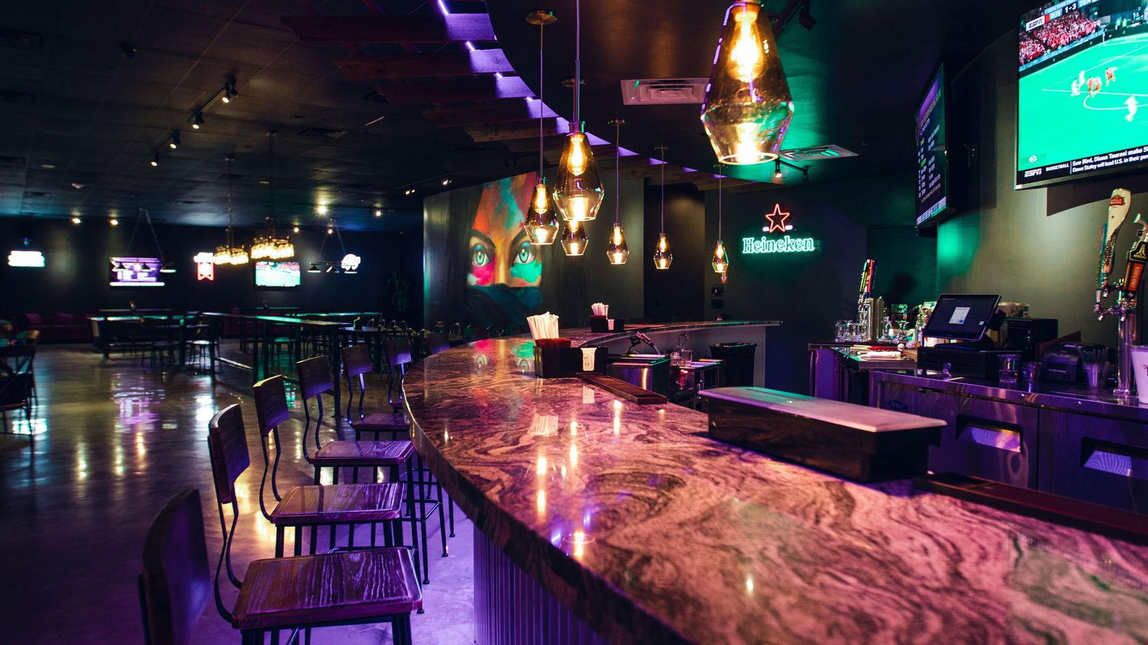 Hangout Restaurant and Sports Club serves a blend of American bar fare, Tex-Mex and Nepalese food.