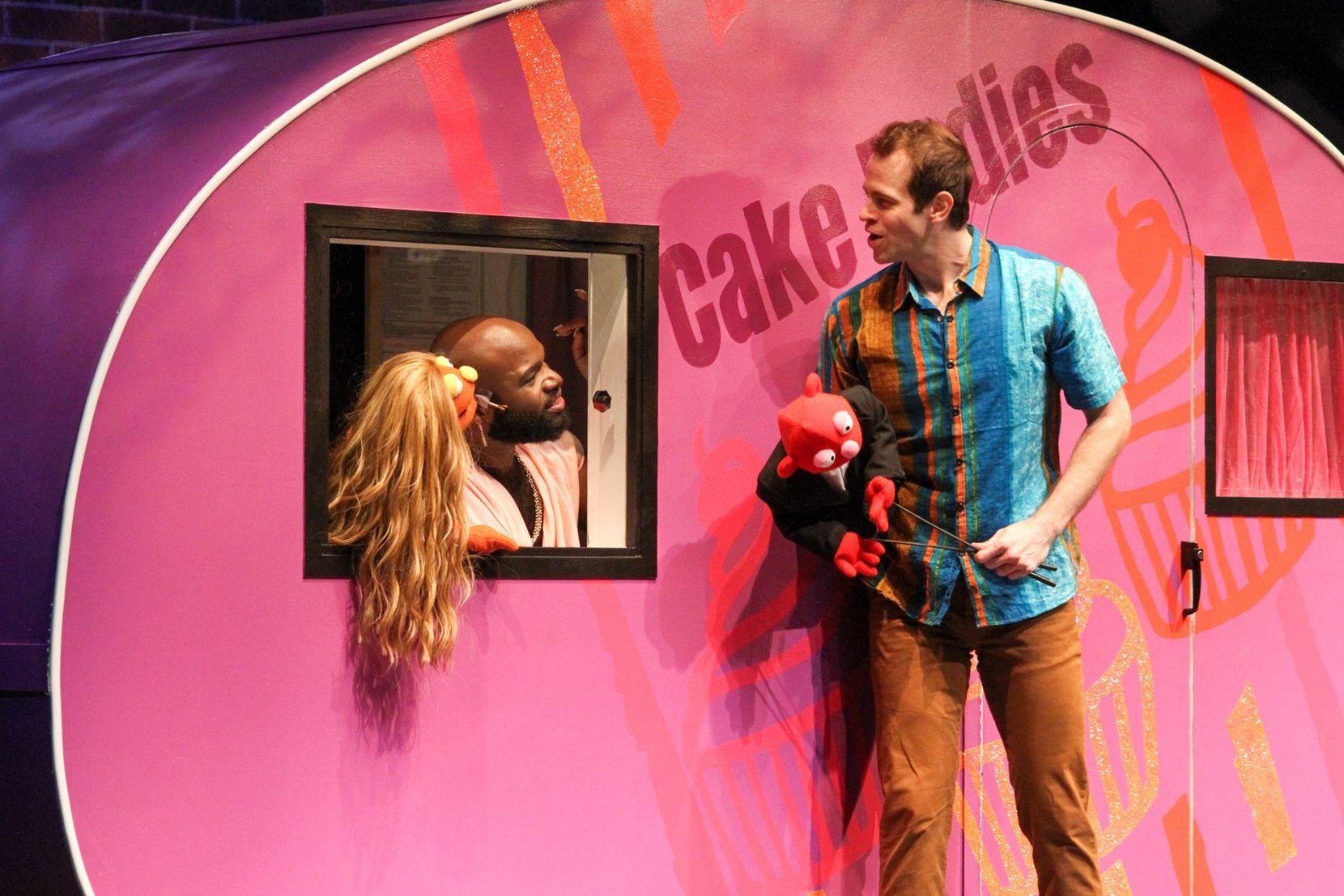 "Bradley Atuba (left) and Alex Organ in a scene from Dallas playwright Jonathan Norton's ""Cake Ladies,"" premiering at Dallas Theater Center to open the company's 2021-22 season."