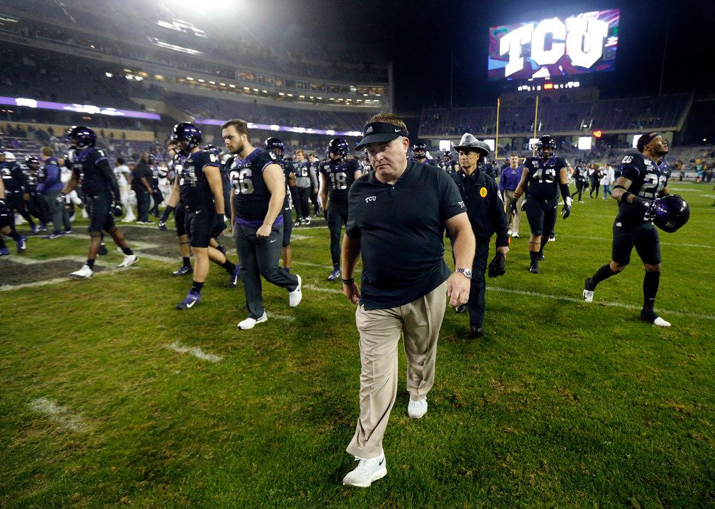 TCU Horned Frogs head coach Gary Patterson walks off the field after losing to the West Virginia Mountaineers at Amon G. Carter Stadium in Fort Worth, Friday, November 29, 2019. The Horned Frogs lost, 20-17. (Tom Fox/The Dallas Morning News)