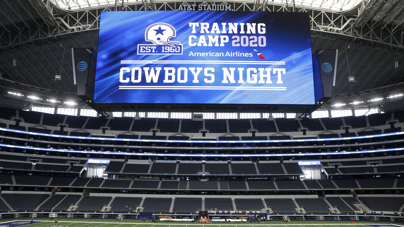 Dallas Cowboys players warmup before the start of practice on Cowboys Night during training camp at the Dallas Cowboys headquarters at AT&T Stadium in Arlington, Texas on Sunday, August 30, 2020.