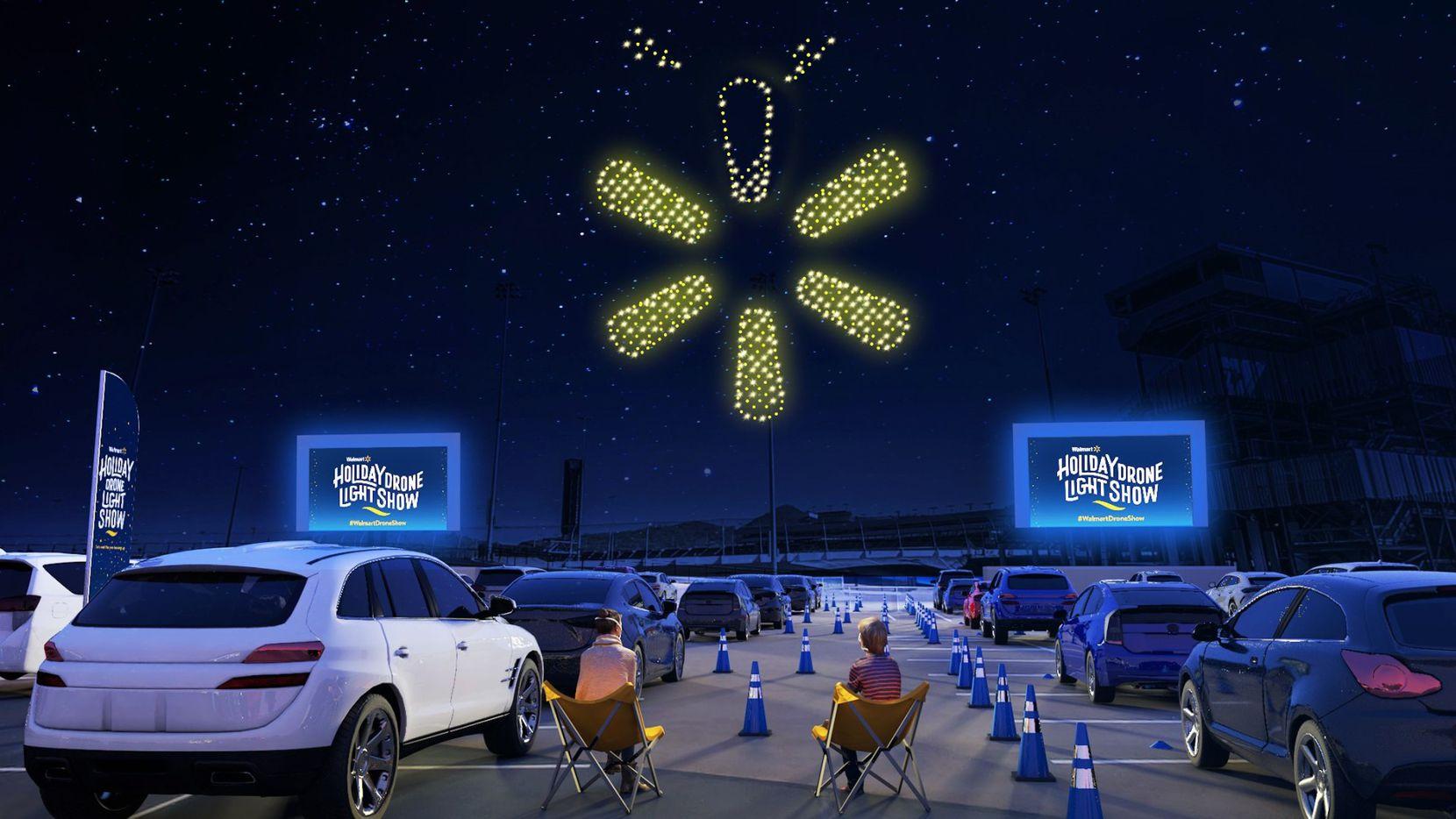 """El  """"Walmart Holiday Drone Light Show""""  se llevara a cabo en el Cotton Bowl en el sur de Dallas el sábado 5 de diciembre. También habra una transmisión en vivo ya que el evento esta agotado."""