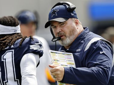 Dallas Cowboys head coach Mike McCarthy readies his team  to face the Los Angeles Chargers at SoFi Stadium in Inglewood, California, Sunday, September 19, 2021.