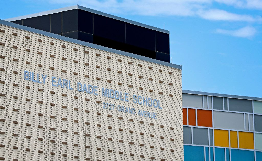 An exterior shot of Billy Earl Dade Middle School in Dallas.