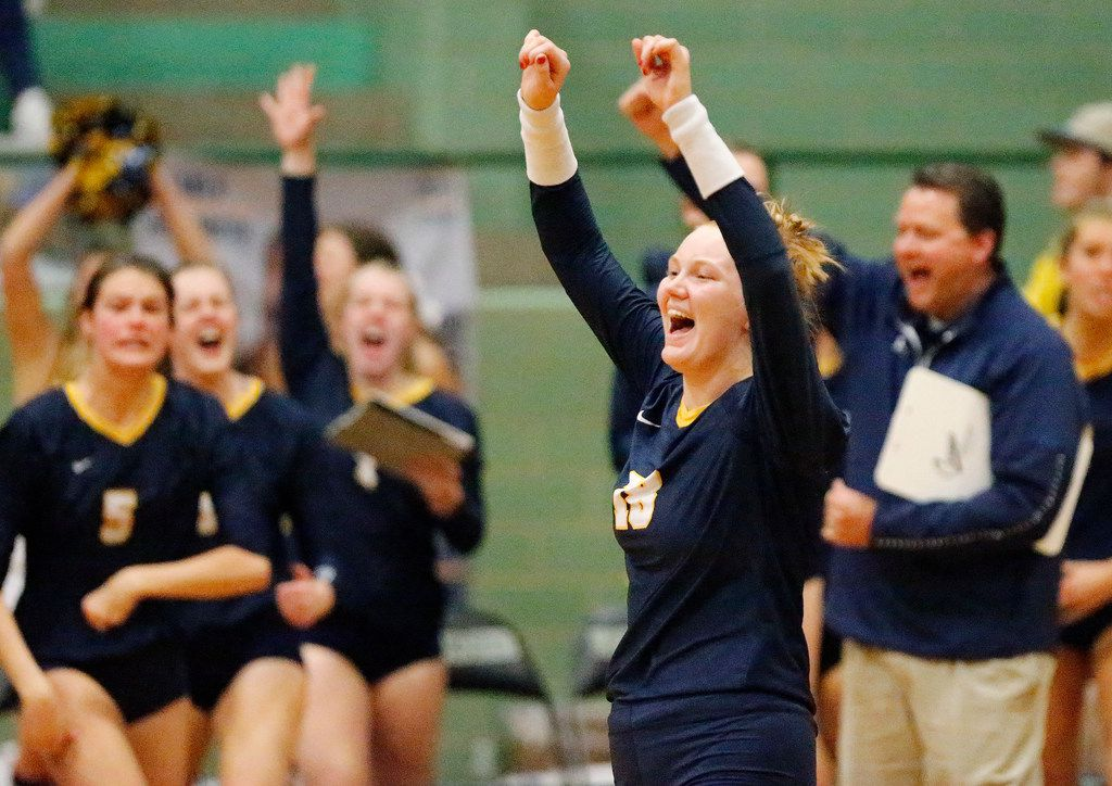 Highland Park High School outside hitter Kendyl Reaugh (18) celebrates a point  during game three as Lebanon Trail High School played Highland Park High School in a Class 5A Region II quarterfinal match played at Richardson Berkner High School on Monday night, November 12, 2019. (Stewart F. House/Special Contributor)