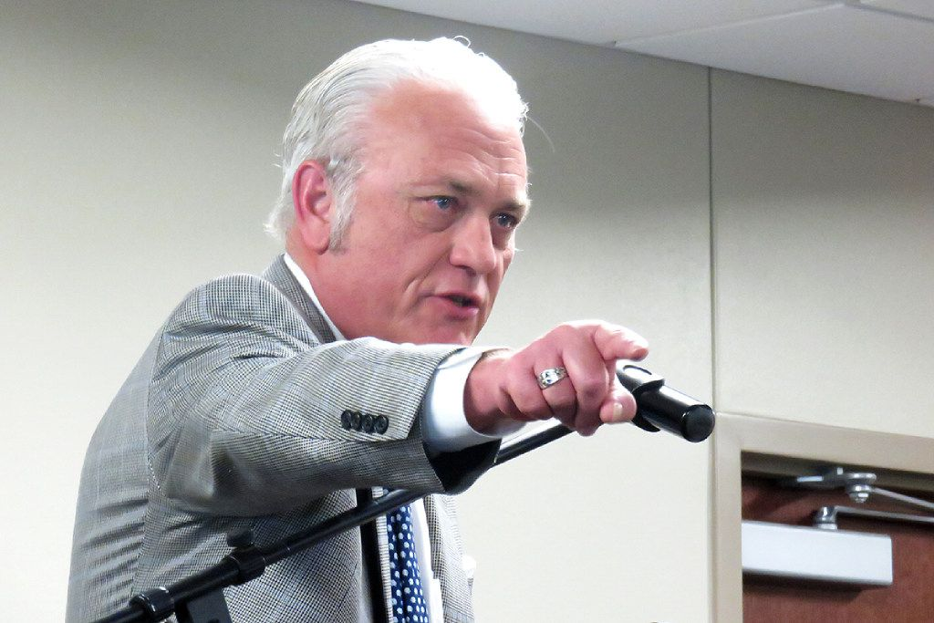 The Rev. Charlie Johnson, founder and director of Pastors for Texas Children, spoke against vouchers at a Waco meeting in 2016.