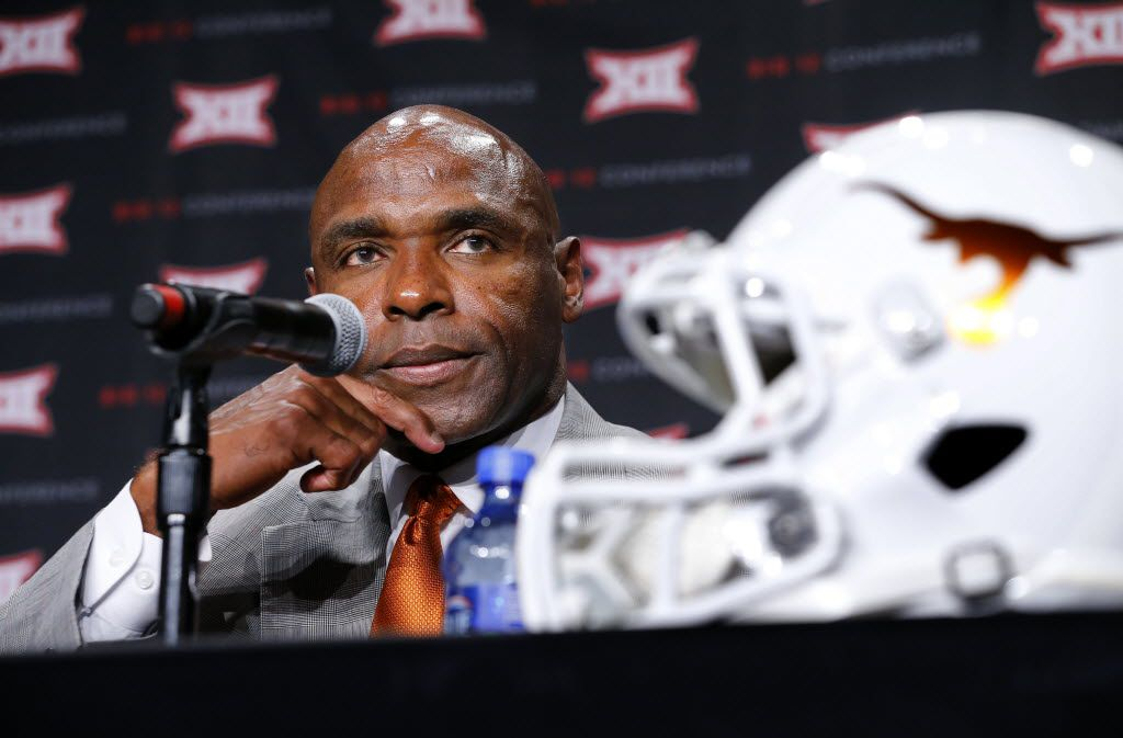 Texas head football coach Charlie Strong listens to a question from a reporter during the Big 12 Conference Football Media Days at the Omni Dallas Hotel, July 19, 2016. (Tom Fox/The Dallas Morning News)
