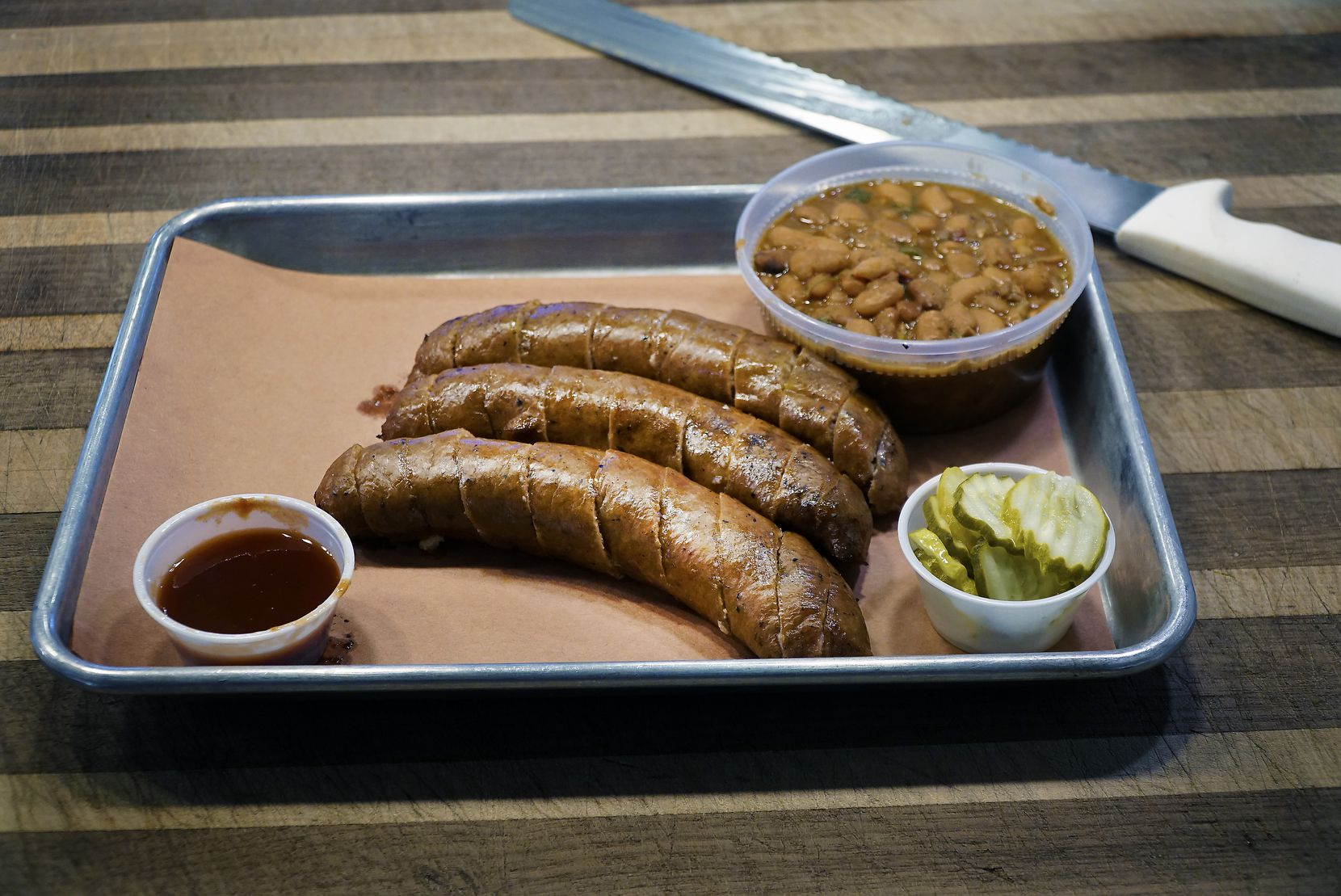 The Thanksgiving sausage at Hurtado Barbecue in Arlington is a pretty serious Turkey Day commitment.
