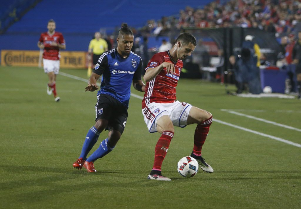 FC Dallas Matt Hedges 24 with the ball during action between FC Dallas vs San Jose at Toyota Stadium in Frisco, Texas, Saturday, April 9, 2016. (Anja Schlein/Special Contributor)