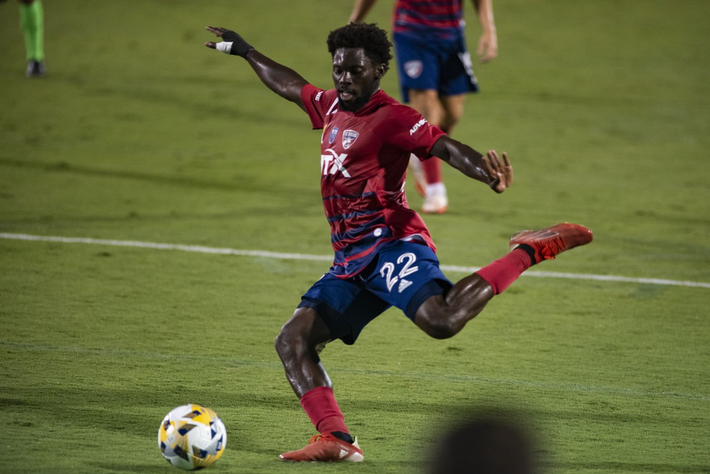 FC Dallas midfielder Ema Twumasi (22) prepares to kick the ball during FC DallasÕ home game against the San Jose Earthquakes at Toyota Stadium in Frisco, Texas on Saturday, September 11, 2021. (Emil Lippe/Special Contributor)