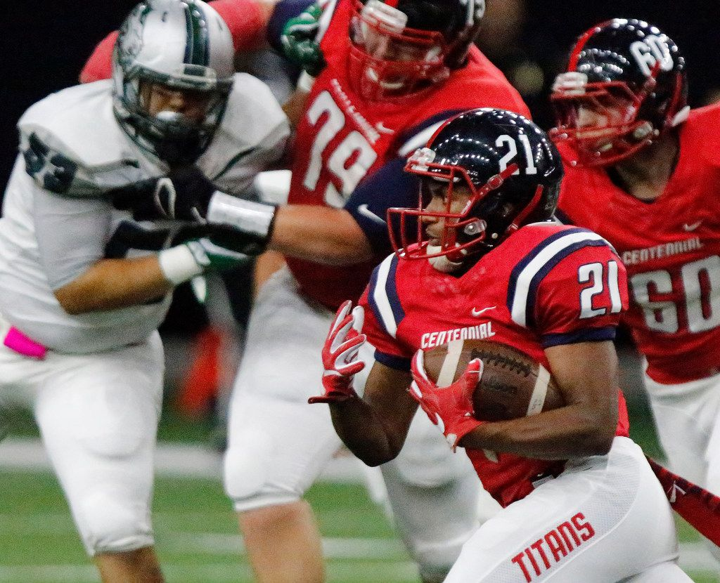 Centennial High School running back Hunter Williams (21) carries the football during the first half as Centennial High School hosted Reedy High School at The Star in Frisco on Thursday night, October 19, 2017. (Stewart F. House/Special Contributor)