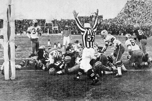 """1967 NFL Championship game: Green Bay 21, Dallas 17; Dec. 31, 1967 in Green Bay. Frozen in time, the image of Bart Starr's 1-yard sneak with 16 seconds remaining in the """"Ice Bowl"""" remains vivid almost 35 years later. It was Green Bay's third straight NFL title game victory and second straight over the Cowboys."""