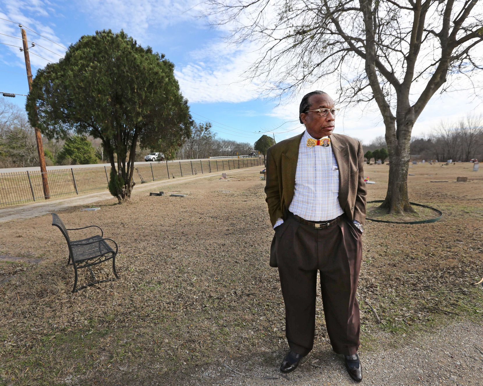 Dallas County Commissioner John Wiley Price visits Prairie View Cemetery, the black cemetery in his childhood hometown of Forney.