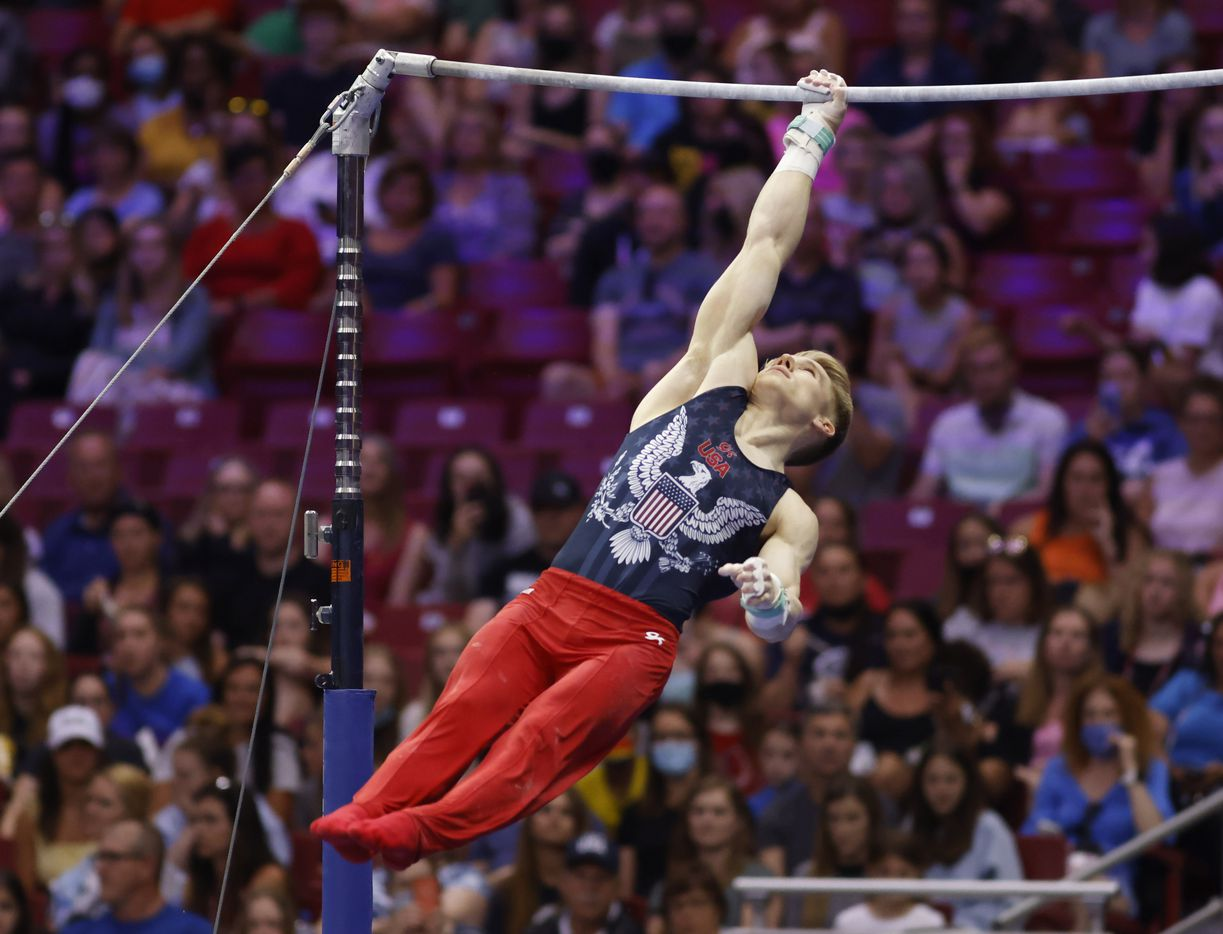 Shane Wiskus competes on the high bar during day 2 of the men's 2021 U.S. Olympic Trials at America's Center on Saturday, June 26, 2021 in St Louis, Missouri.(Vernon Bryant/The Dallas Morning News)