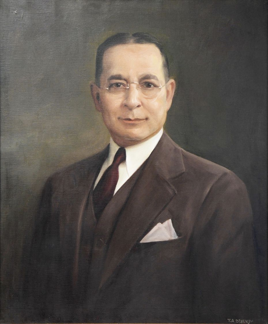 A painting of Edward C. Adleta, who founded a family business in downtown Dallas in 1920 as a showcase and fixture manufacturing company.