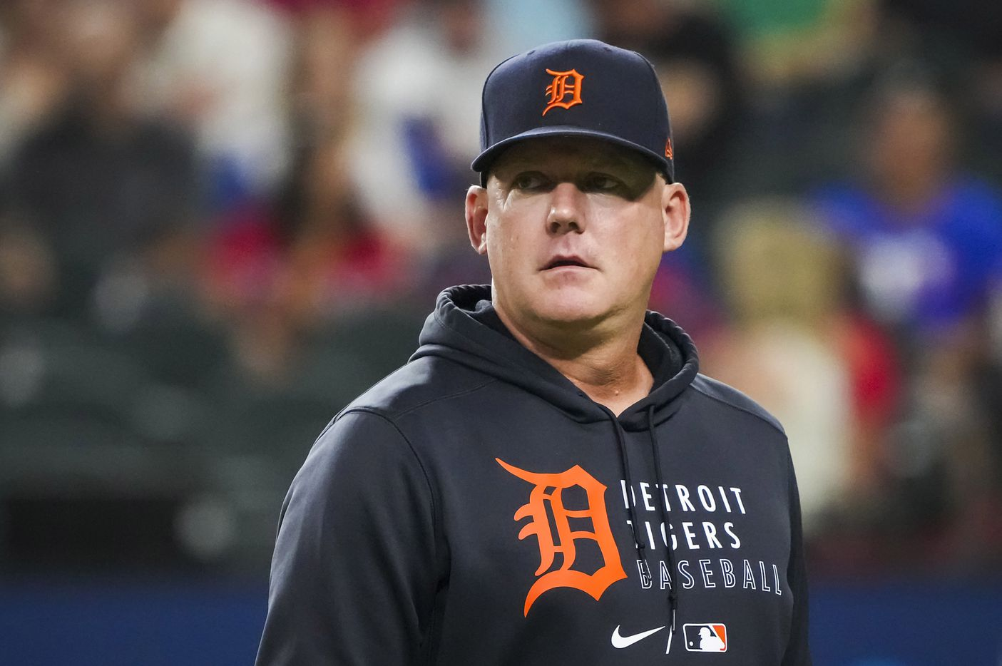 Detroit Tigers manager A.J. Hinch heads back to the dugout after removing starting pitcher Jose Urena from the game during the fifth inning against the Texas Rangers at Globe Life Field on Tuesday, July 6, 2021.