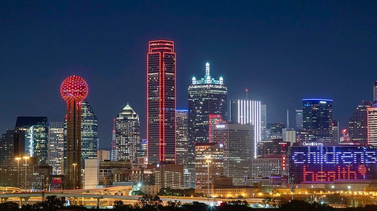 Children's Health, which earned a spot on The Dallas Morning News' Top 100 Places to Work for 2020, thanked its health care hero employees by lighting up the Dallas skyline in red on Nov. 16.