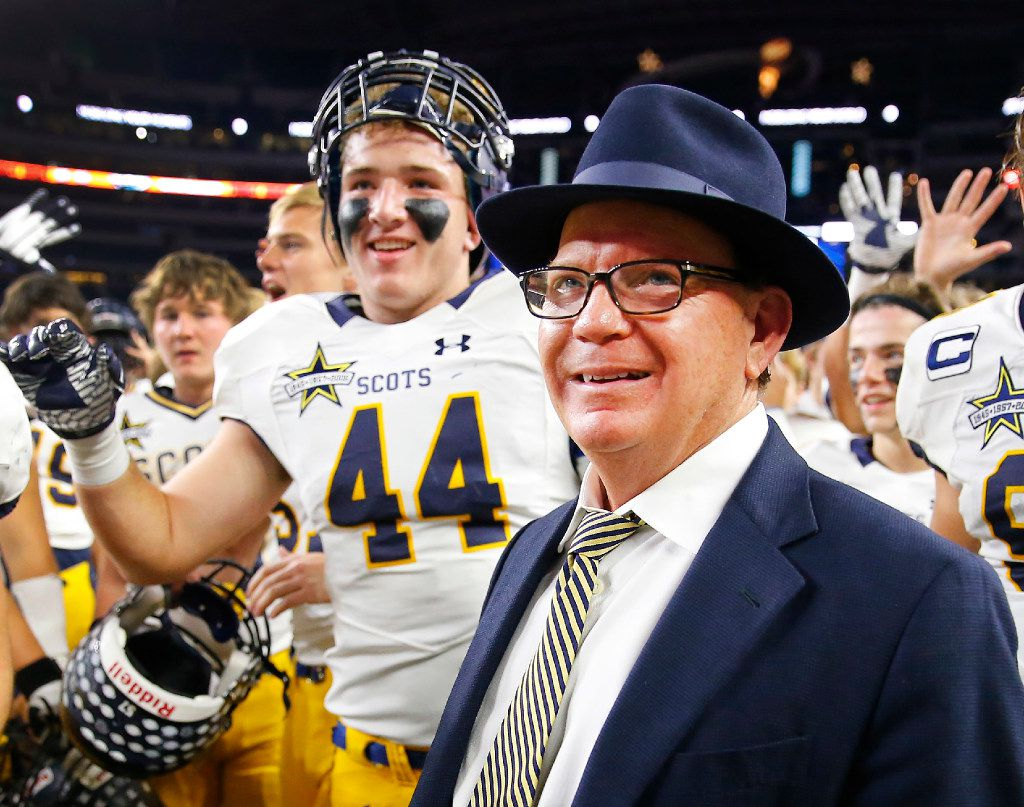 Highland Park head football coach Randy Allen celebrates with his players after defeating Mansfield Legacy in their Class 5A Division I Region II final at AT&T Stadium in Arlington, Texas, Friday, December 2, 2016. Highland Park held onto win 14-7. (Tom Fox/The Dallas Morning News)