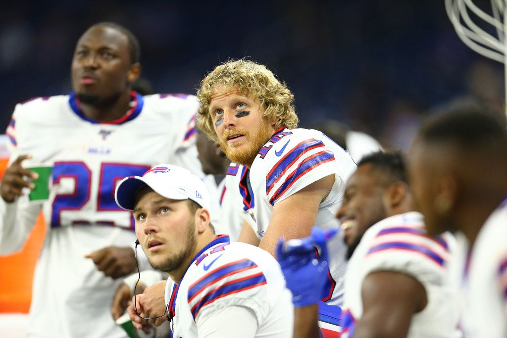DETROIT, MI - AUGUST 23: Cole Beasley #10 of the Buffalo Bills watches during the preseason game against the Detroit Lions at Ford Field on August 23, 2019 in Detroit, Michigan.