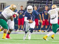 Allen quarterback Kyler Murray scrambles on 19-yard run for a first down against DeSoto on Nov. 22 in a Class 6A Division I area-round game at AT&T Stadium. Murray ran for 194 yards and three touchdowns and set up Sawyer Williams' game-winning 25-yard field goal. (File photo)