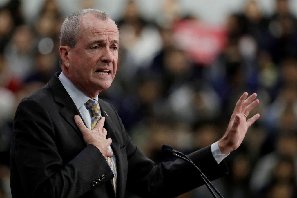 New Jersey Gov. Phil Murphy speaks during an event kicking off U.S. Sen. Bob Menendez's campaign for re-election at Union City High School on March 28 in Union City, N.J.