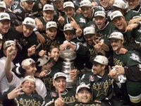 FILE - The Dallas Stars pose for a team photo with the Stanley Cup after the third overtime of Game 6 of the 1999 Stanley Cup Final at Marine Midland Arena in Buffalo, N.Y.