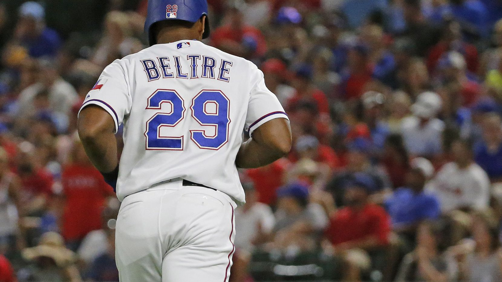 Texas Rangers designated hitter Adrian Beltre (29) jogs off the field during the Chicago White Sox vs. the Texas Rangers major league baseball game at Globe Life Park in Arlington, Texas on Saturday, June 30, 2018. (Louis DeLuca/The Dallas Morning News)