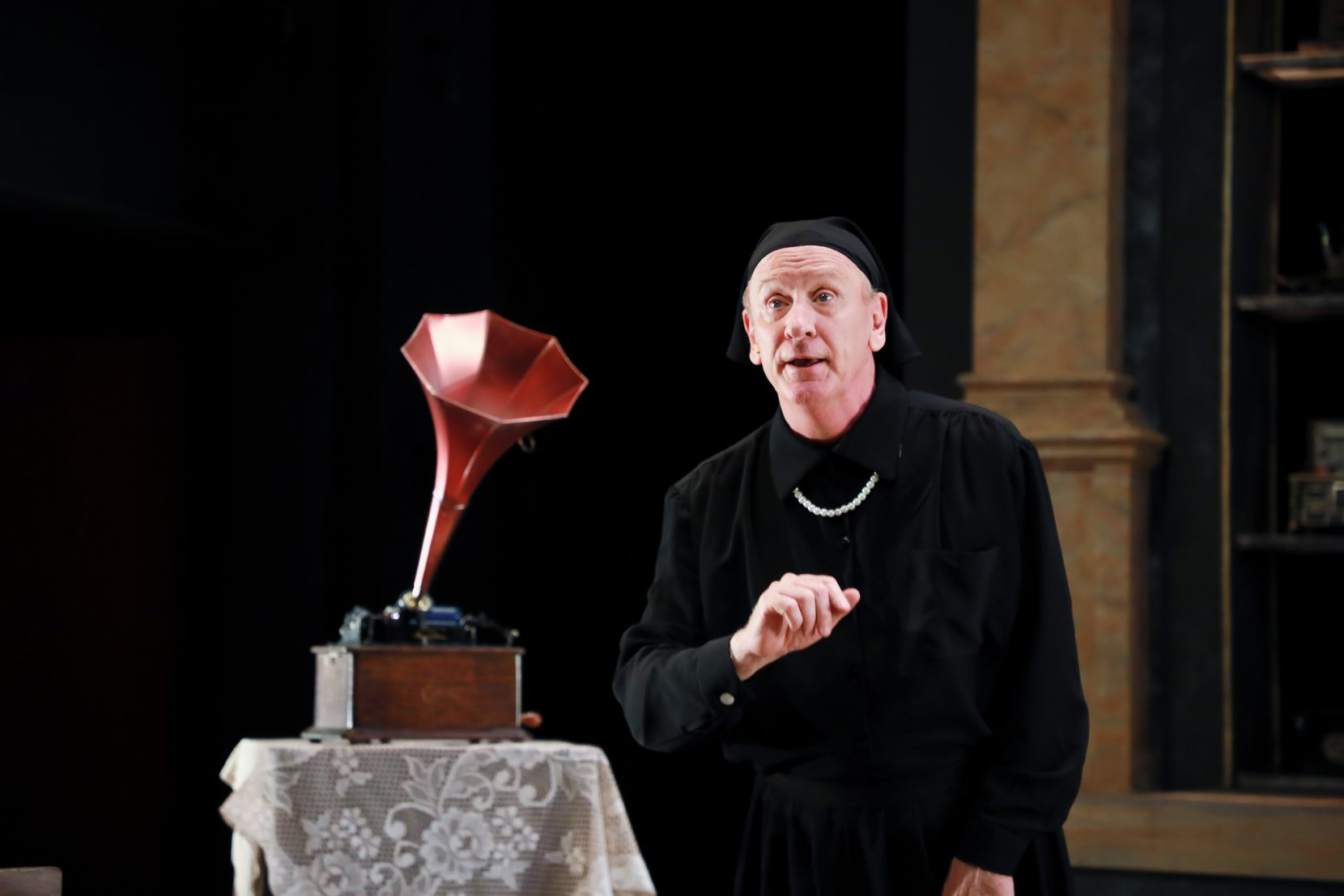 """Bob Hess as Charlotte von Mahlsdorf in WaterTower Theatre's production of """"I Am My Own Wife."""""""