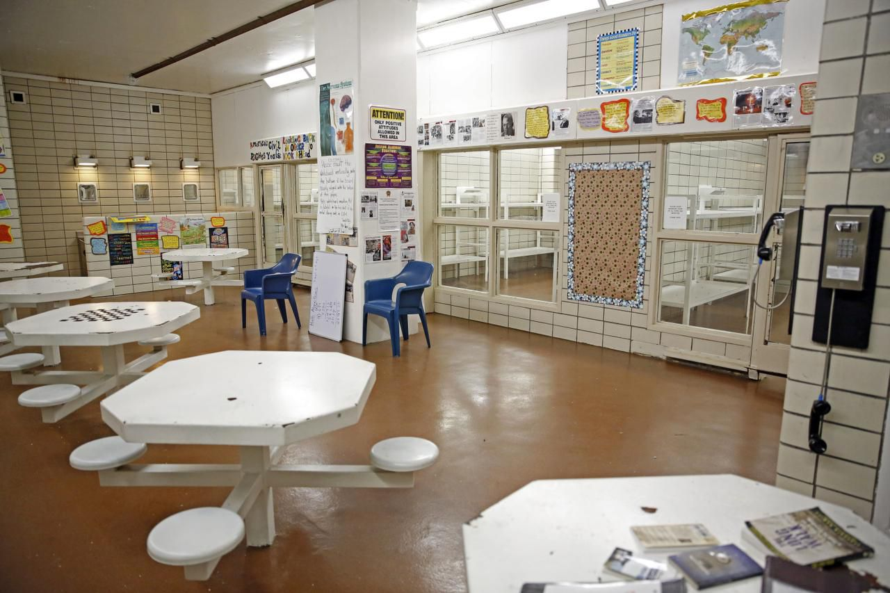 A classroom for juvenile inmates is in what is usually a common area at Lew Sterrett Justice Center in Dallas.