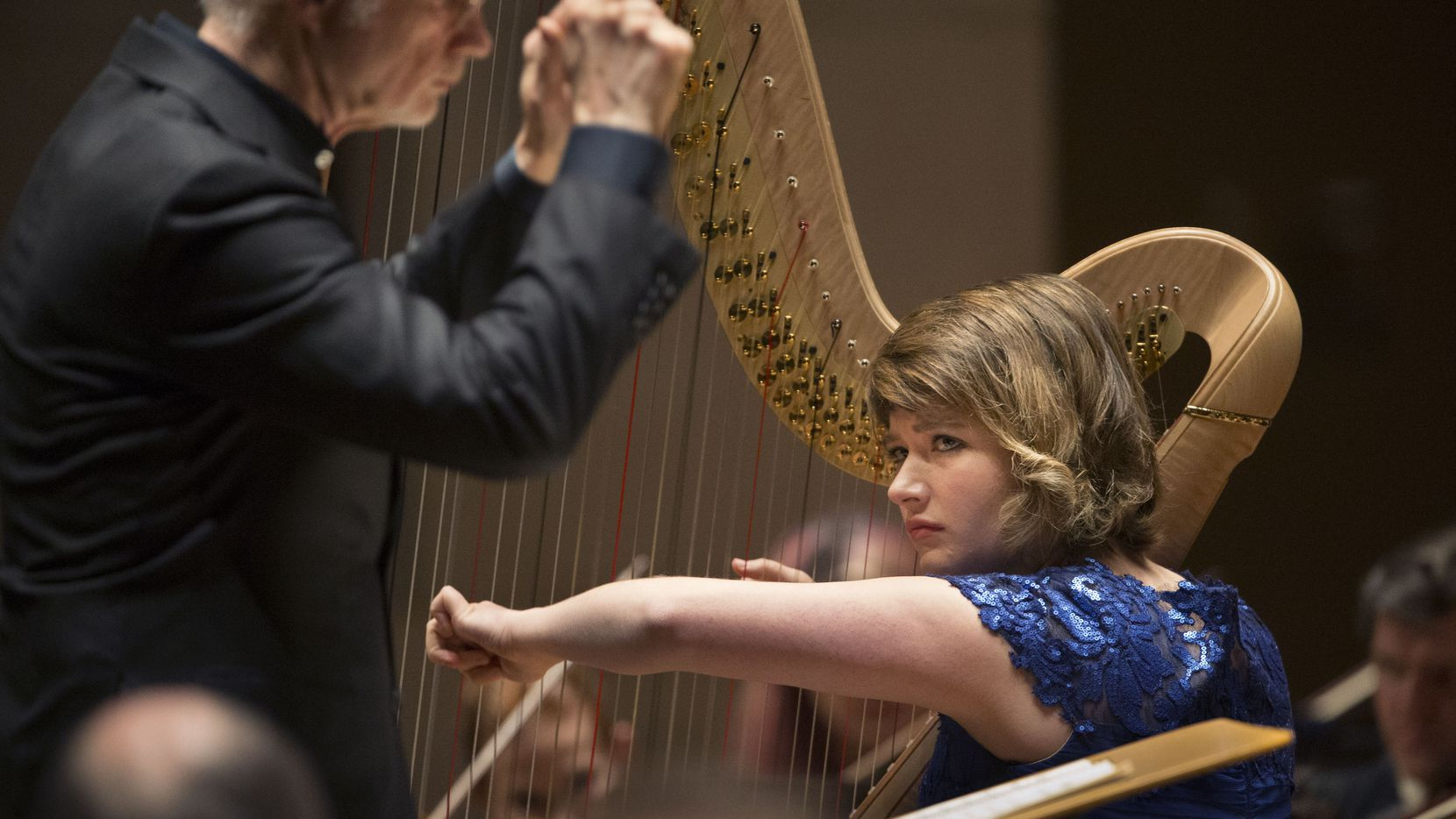Principal harpist Emily Levin and the Dallas Symphony Orchestra performed under the direction of guest conductor John Adams at the Meyerson Symphony Center in Dallas on Jan. 31, 2019.