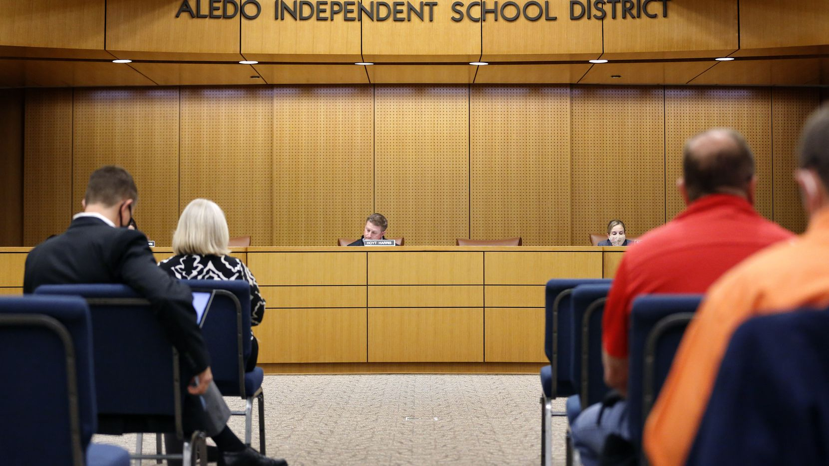 """The Aledo ISD listened to parents and supporters who voiced concerns about a student-led racist Snapchat group with multiple names, including """"Slave Trade"""" and another that included a racial slur. A group of about 40 people came to voice their concerns during an Aledo ISD school board meeting in Aledo, Texas, Thursday, April 15, 2021."""
