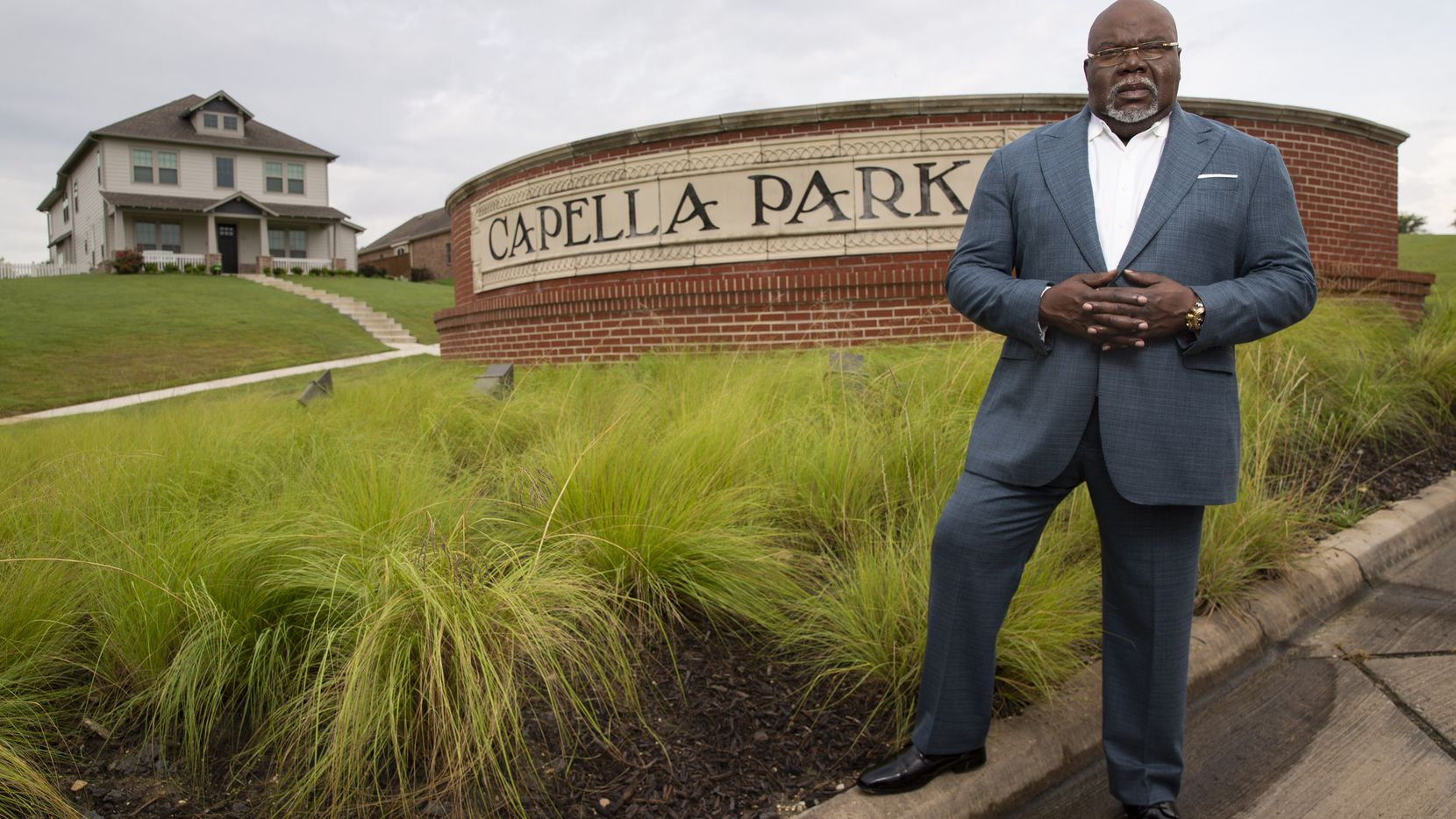 TD Jakes poses for a photo at Capella Park on Friday, July 2, 2021, in Dallas. Capella Park is a 400-plus acre community in southern Dallas that is one of Jakes' ventures to help provide affordable and safe housing in the city.
