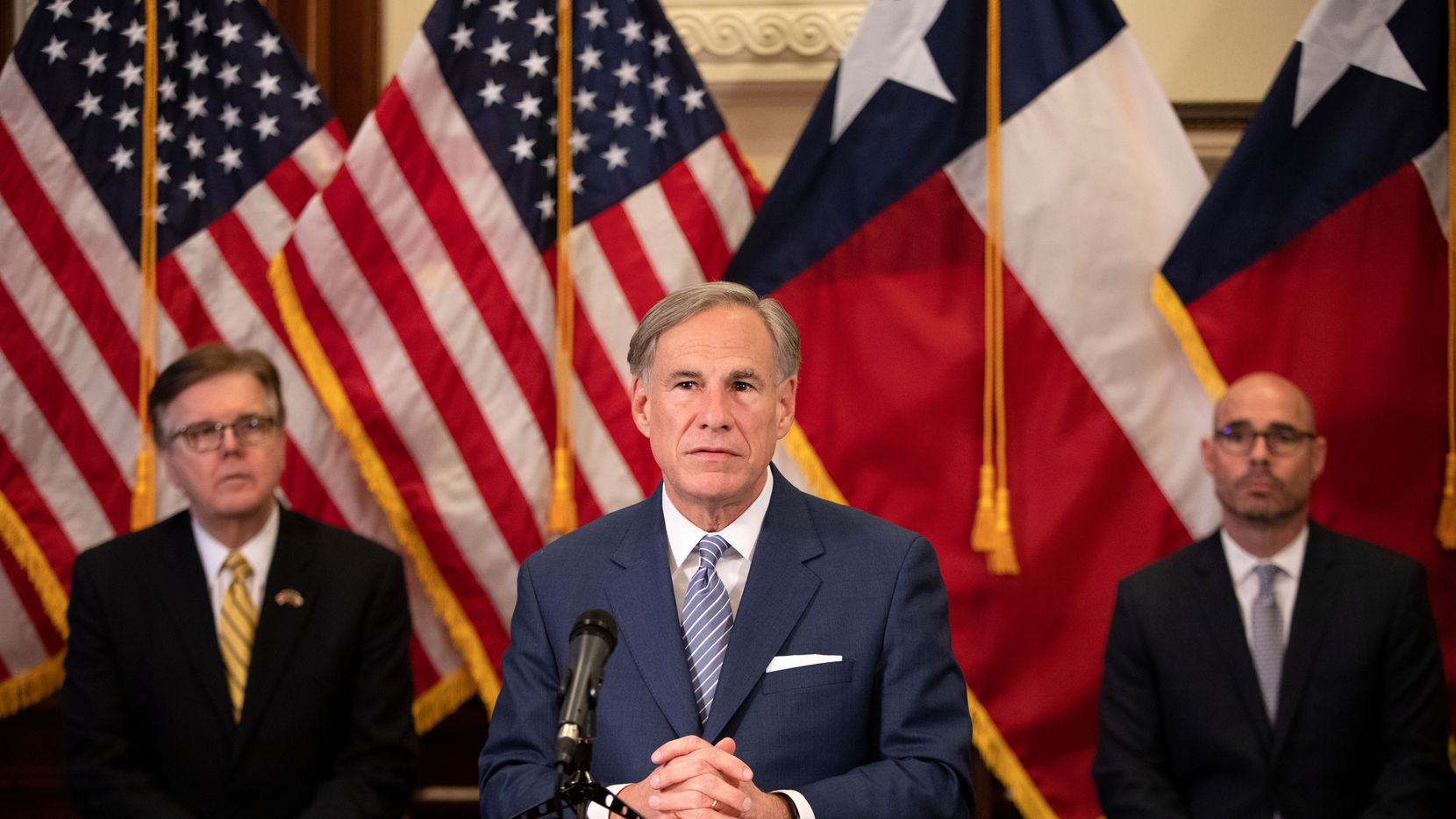 Many of the questions about politics next year will depend on how the state's top three officials get along. House Speaker Dennis Bonnen (right) will not return to the Texas House and his replacement will have to find a way to work with Lt. Gov. Dan Patrick (left) in the Senate who is more aligned with the Republican party's right wing. Gov. Greg Abbott (center) faces a crucial session before his re-election campaign in 2022.