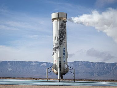 Blue Origin's New Shepard Rocket which completed another successful launch in West Texas this week.