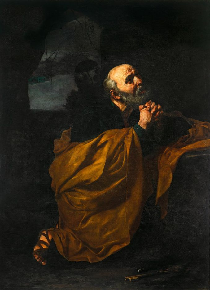 Jusepe de Ribera (Spanish, 1591-1652), The Penitence of St. Peter, 1617-18. Oil on canvas. Osuna (Seville), Museo de Arte Sacro, Antigua Colegiata.  Between Heaven and Hell: The Drawings of Jusepe de Ribera March 12 – June 11, 2017