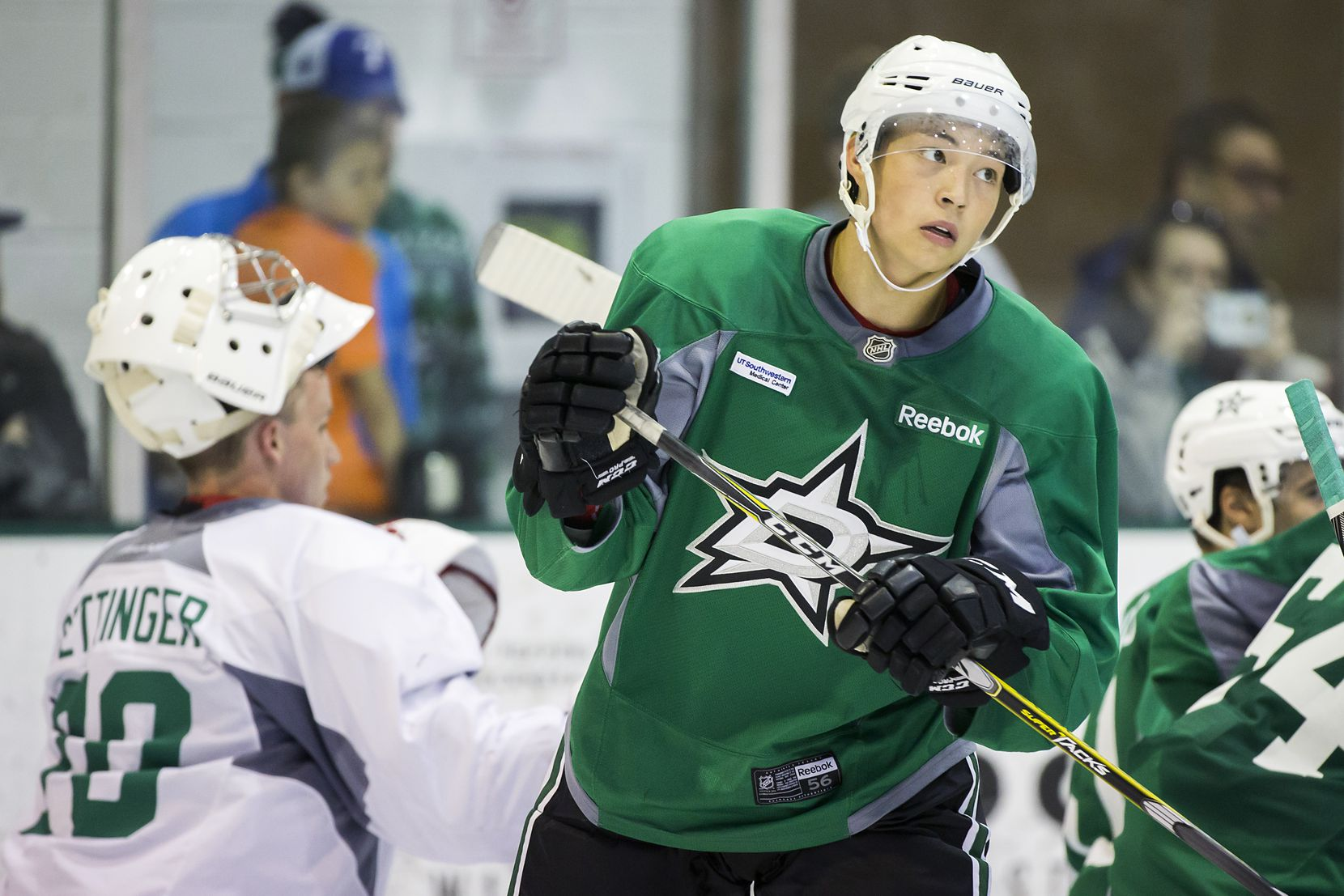 Forward Jason Robertson participates in a workout on the first day of Dallas Stars development camp at the Dr Pepper StarCenter on Saturday, July 8, 2017, in Frisco.