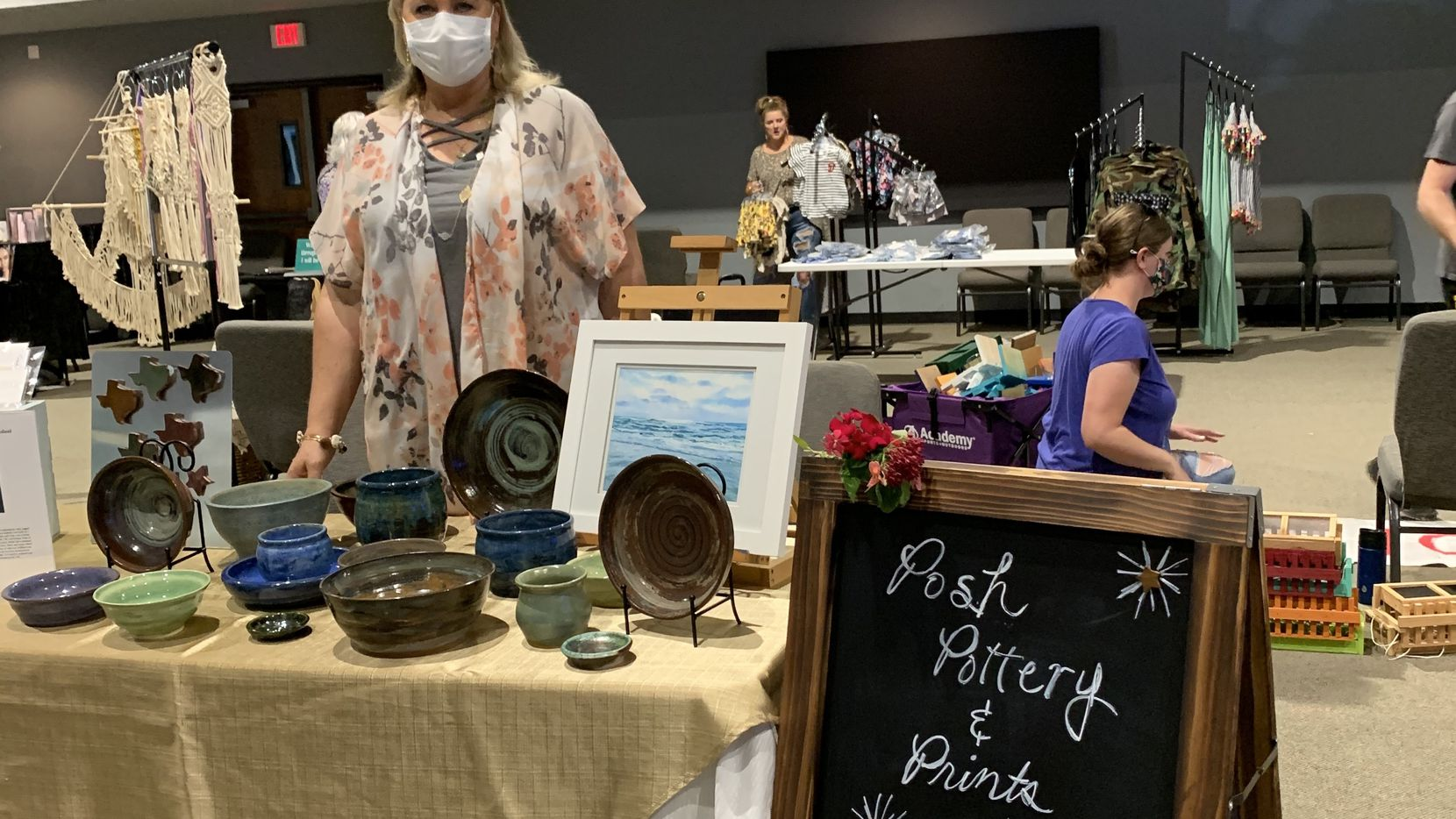 Gwen Cantu is pictured behind one of the booths at the first Tidbits & Treasures event in Colleyville at Journey Church, July 11, 2020.